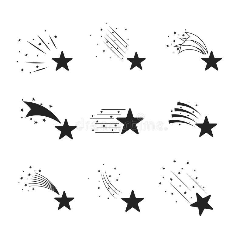 Dalende sterren vectorreeks Eenvoudige pictogrammen van meteorieten en kometen Vallende sterren met verschillende staarten stock illustratie