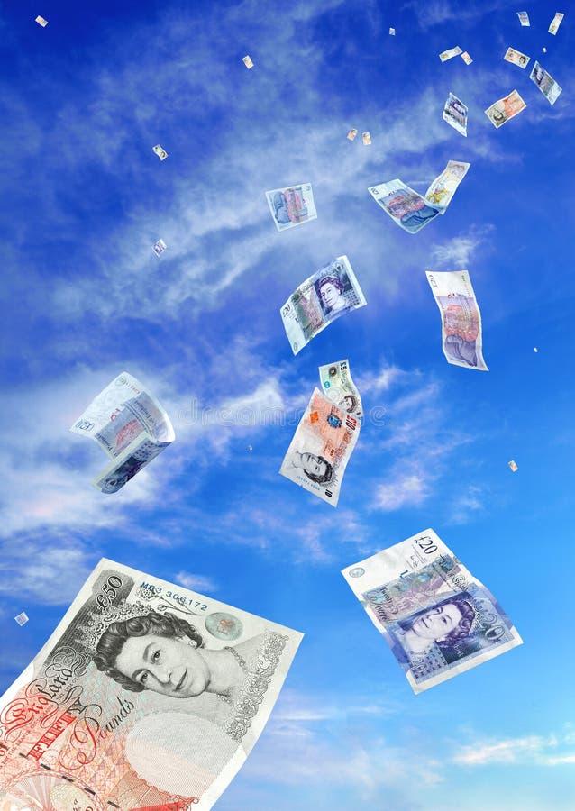 Dalende UK- nota's royalty-vrije stock foto