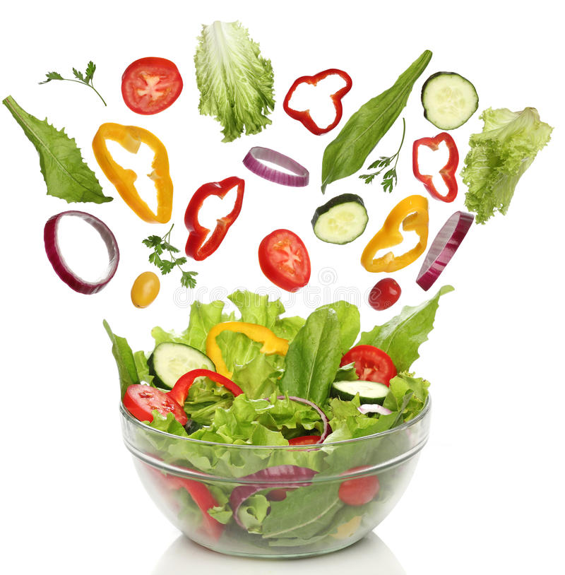 Dalende verse groenten stock fotografie