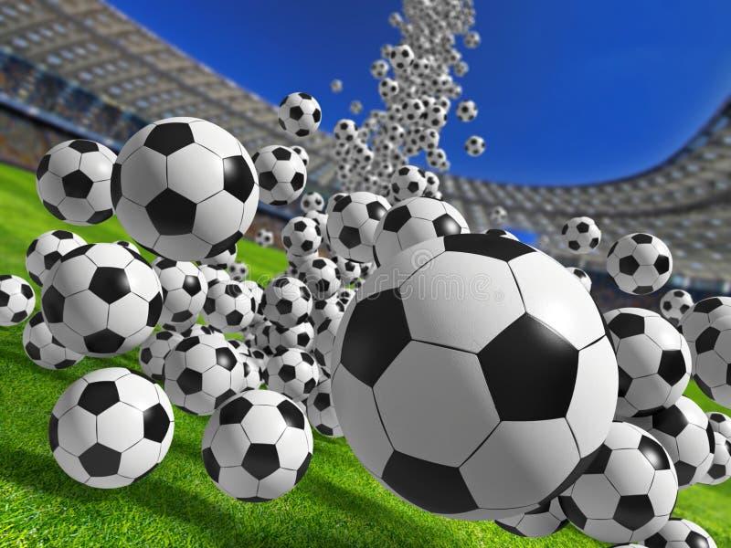 Dalende voetbalballen stock foto