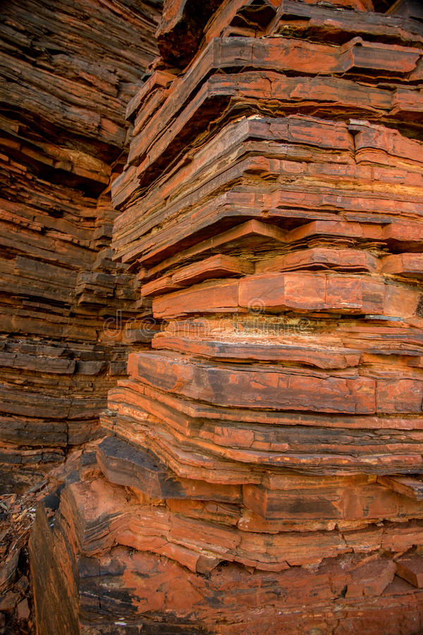 Dales Gorge, Karijini National Park. Dales Gorge in Karijini National Park, carved on ancient sea beds with high content of iron, sedimentary layers on rocks royalty free stock photo