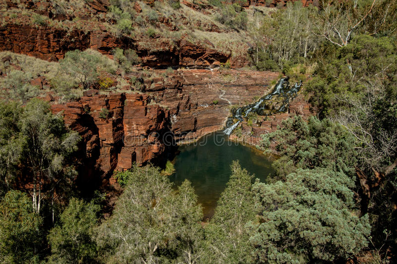 Dales Gorge, Karijini National Park. Dales Gorge in Karijini National Park, carved on ancient sea beds with high content of iron, sedimentary layers on rocks royalty free stock images