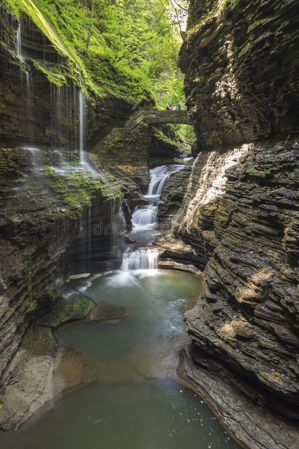 Dalgångwatkins, vattenfall, New York, lopp, landskap royaltyfri foto