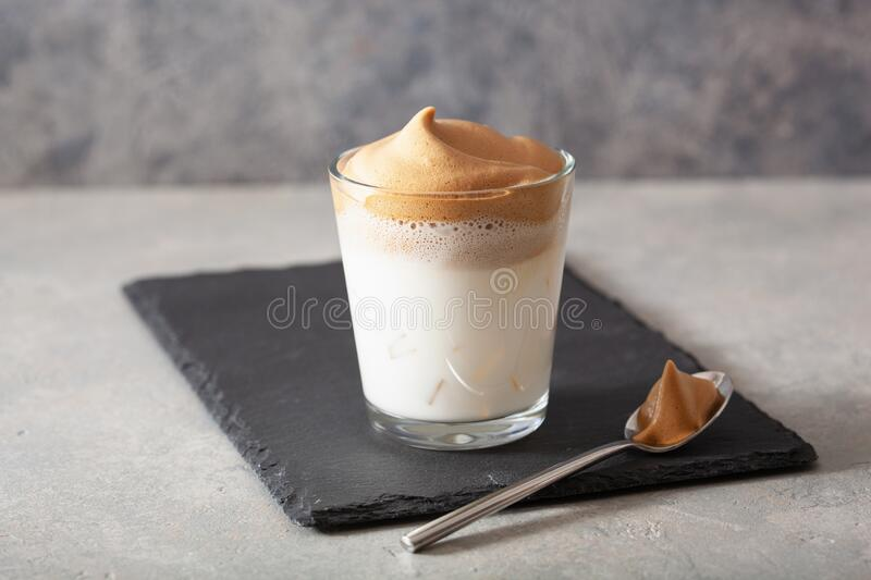 Dalgona Coffee In Glass. Trendy Instant Coffee Whipped ...