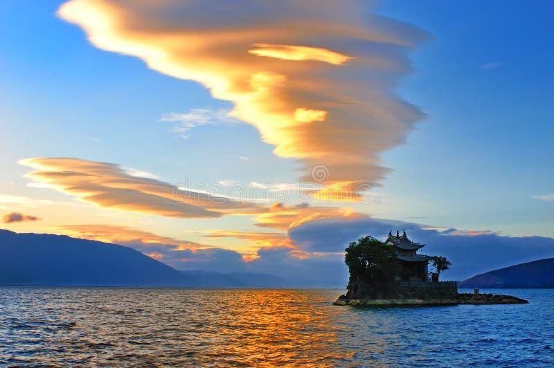 dali湖寺庙云南 图库摄影