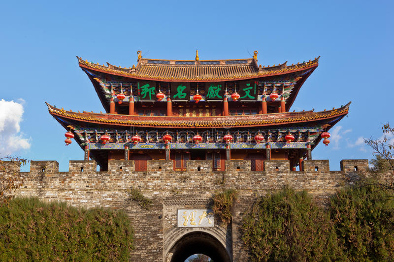 Dali ancient city gate tower stock image