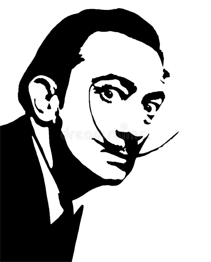 Dali. This is a digital drawing of mr salvador dali stock illustration