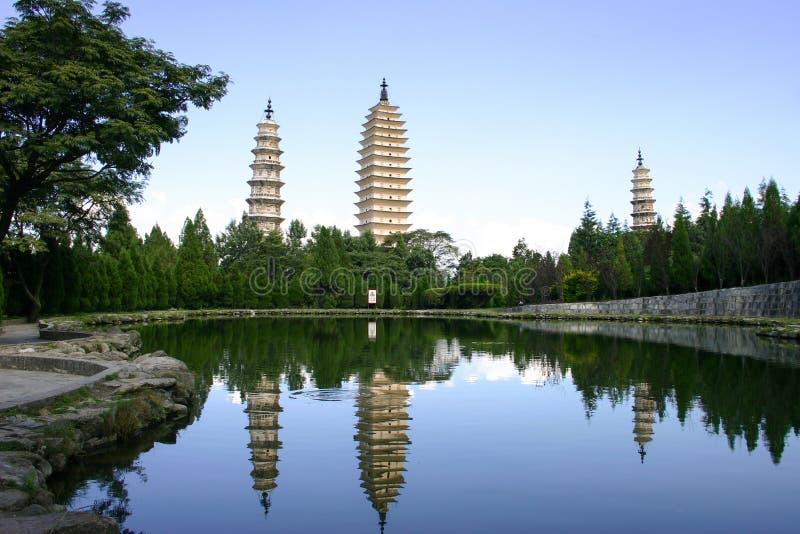 Dali 3 pagoder, Yunnan, Kina arkivbild