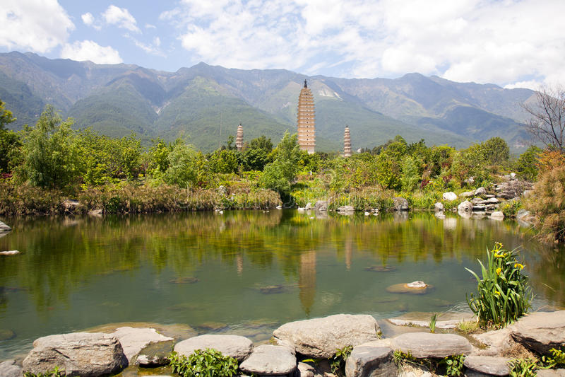 Download Dali Three Pagodas Reflection Stock Photo - Image: 30773680