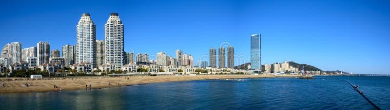 Dalian, China city and sea panorama view. Dalian city in China and sea panorama view royalty free stock image