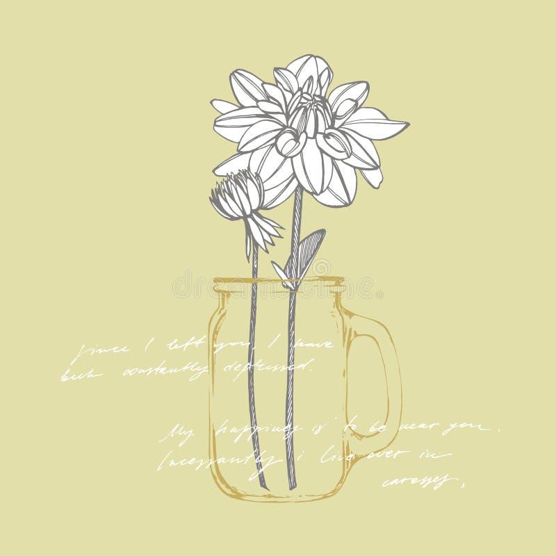 Dalias a mano de la tinta Elementos florales Ejemplos gráficos de las flores Ejemplo bot?nico de la planta manuscrito stock de ilustración