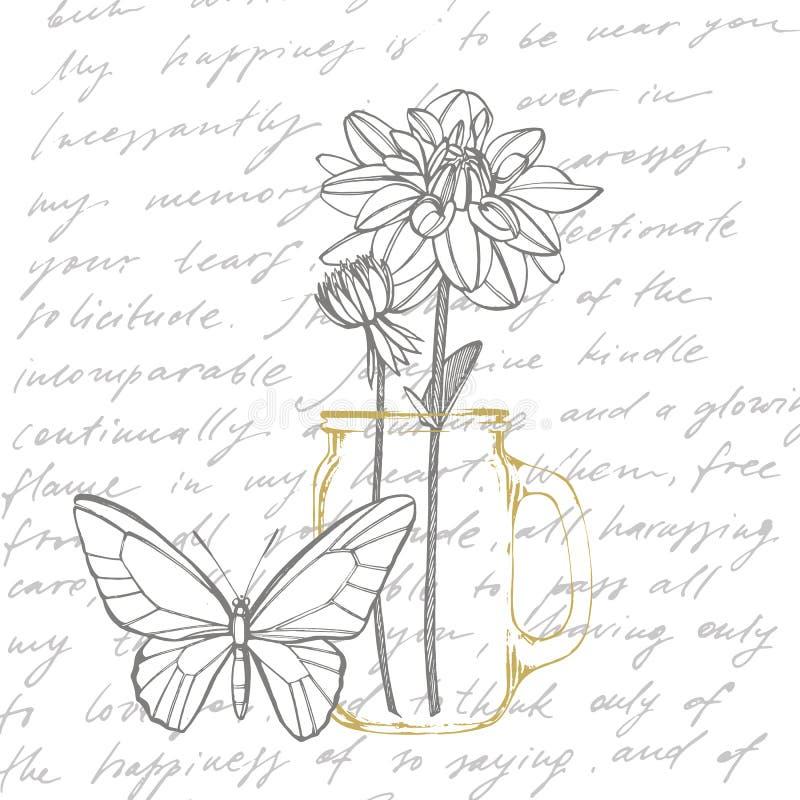 Dalias a mano de la tinta Elementos florales Ejemplos gráficos de las flores Ejemplo bot?nico de la planta manuscrito libre illustration