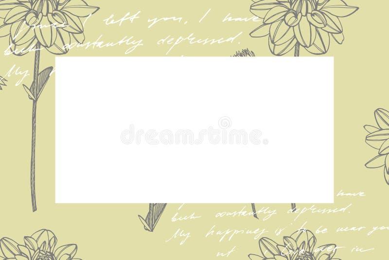 Dalias a mano de la tinta Elementos florales Ejemplos gráficos de las flores Ejemplo bot?nico de la planta Vintage medicinal stock de ilustración