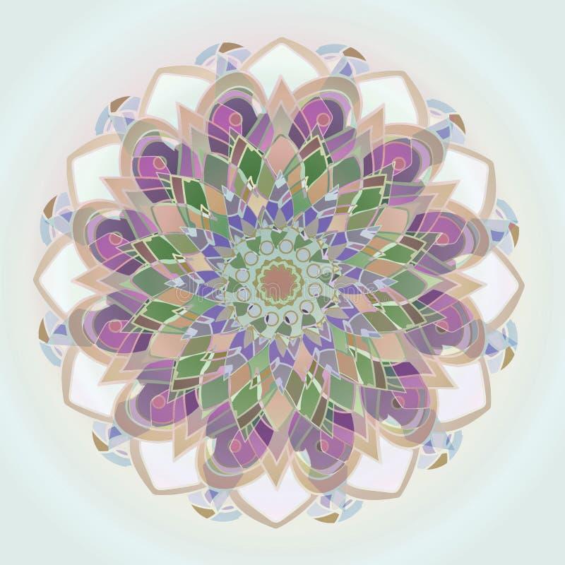 DALII LINIOWY mandala gray fractal abstrakcyjne t?a obraz ŚRODKOWY kwiat W purpurach, beżu, bielu, menchiach, zieleni, błękicie I ilustracji