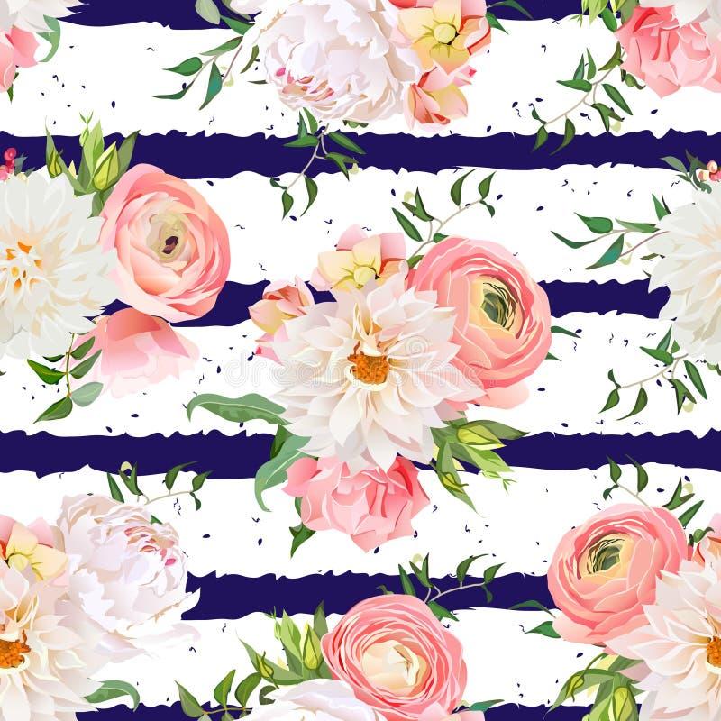 Dalii, ranunculus, różanego i peoni bezszwowy wektoru wzór, royalty ilustracja