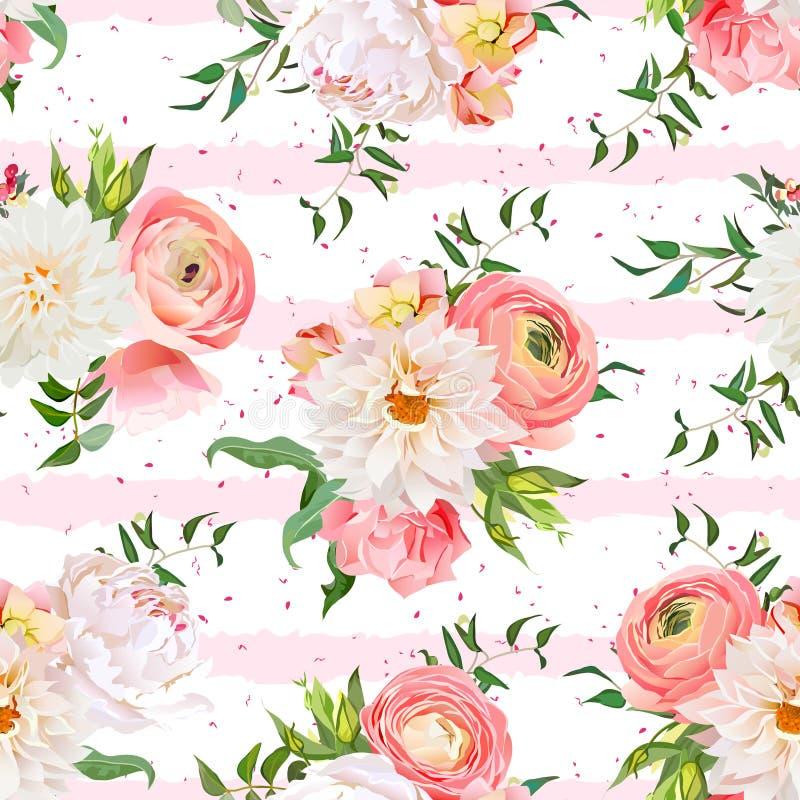 Dalii, ranunculus, różanego i peoni bezszwowy wektoru wzór, ilustracji