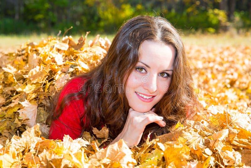 Daling Portret van mooie jonge vrouw in de herfstpark stock afbeeldingen