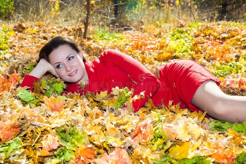 Daling Portret van mooie jonge vrouw in de herfstpark royalty-vrije stock fotografie