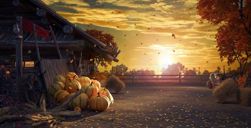 Daling van binnenplaats met bladeren die van bomen en pompoenen, de herfstachtergrond vallen stock illustratie