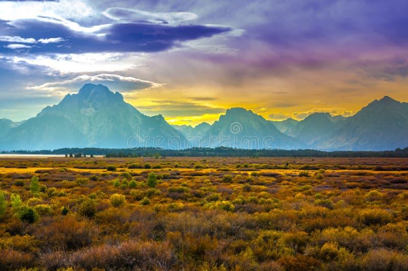 Daling van Grote Tetons royalty-vrije stock fotografie