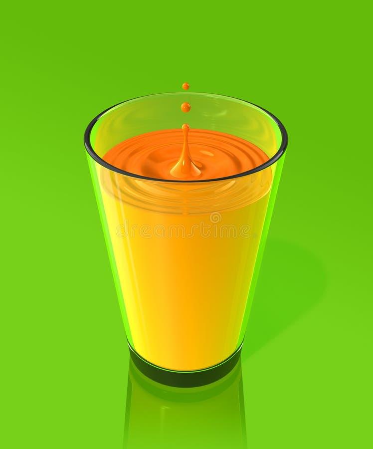Daling van jus d'orange en rimpeling in een glas stock illustratie
