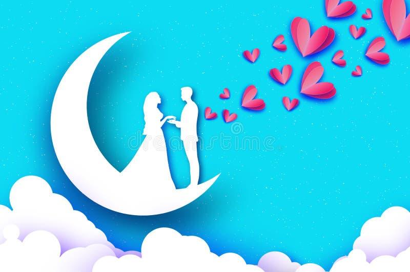 Daling van liefde Maan crescent Witte Romantische minnaars Roze document harten het document sneed stijl De gelukkige dag van de  vector illustratie