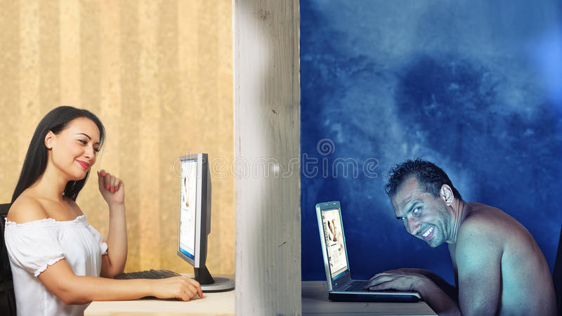 Daling van liefde online royalty-vrije stock afbeelding