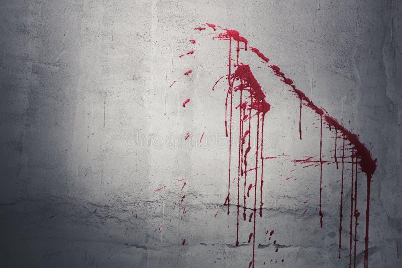 Daling van rood bloed op muur in verlaten huis Halloween-Festival stock afbeeldingen