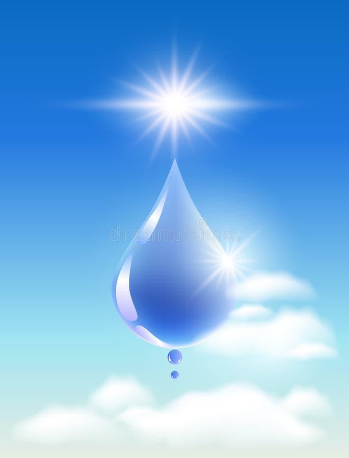 Daling van water in de wolken stock illustratie