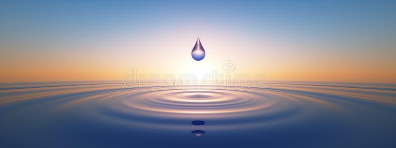Daling van water in kalm water in de brede oceaan vector illustratie