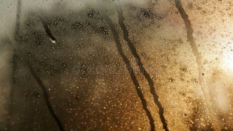Daling van water op het glas royalty-vrije stock afbeeldingen