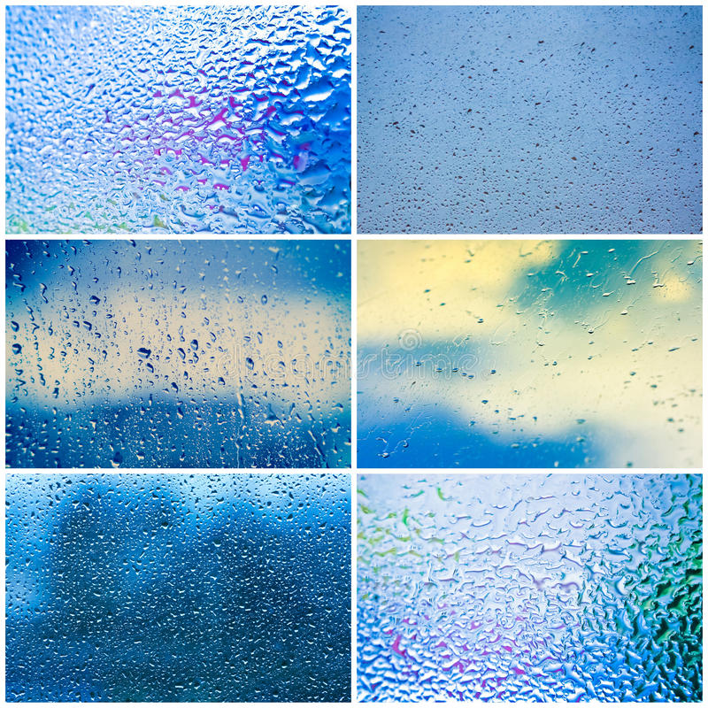 Dalingen van regen op blauwe glasachtergrond royalty-vrije stock foto