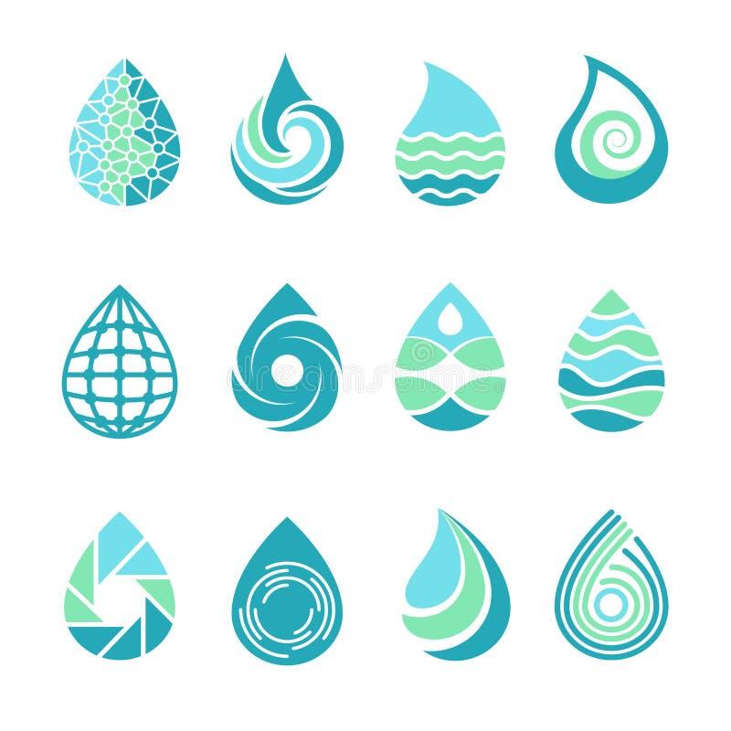 Dalingenemblemen Gekleurde wateraqua bespat het voedsel en de olie vectormalplaatjepictogrammen van aardsymbolen vloeibare van da stock illustratie