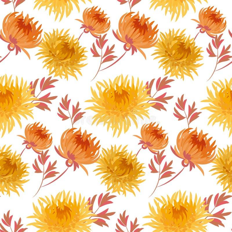 Dalings geel bloemen naadloos patroon royalty-vrije illustratie