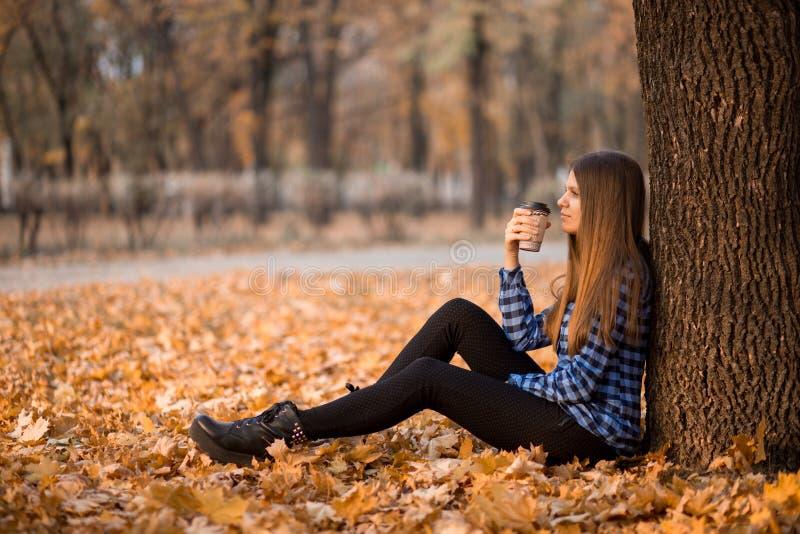 Dalingsconcept Gelukkige en vrolijke vrouw het drinken koffie terwijl het zitten op parkbladeren onder dalingsgebladerte royalty-vrije stock afbeelding