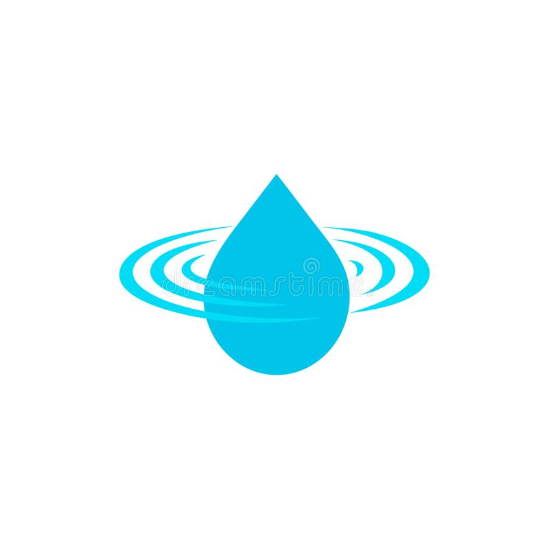 Dalingsembleem, schoon waterteken, blauw druppeltje vectorpictogram, het symbool van het aquaontwerp op witte achtergrond Verse d stock illustratie