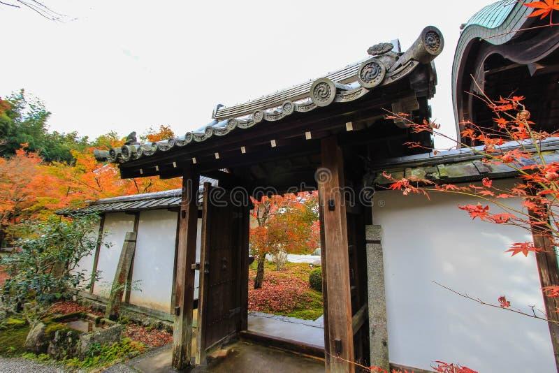 Dalingsgebladerte bij Enkoji-Tempel, Kyoto, Japan stock foto's