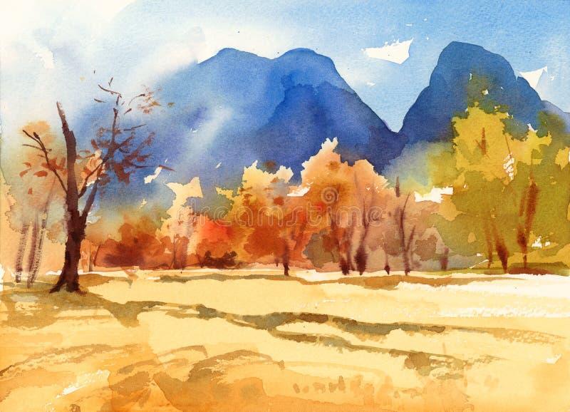 Dalingslandschap met Bomen en Bergen Geschilderde de Illustratiehand van de Waterverfaard royalty-vrije illustratie