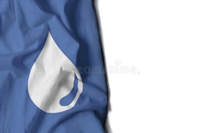 dalingswater gerimpelde vlag, ruimte voor tekst stock afbeelding