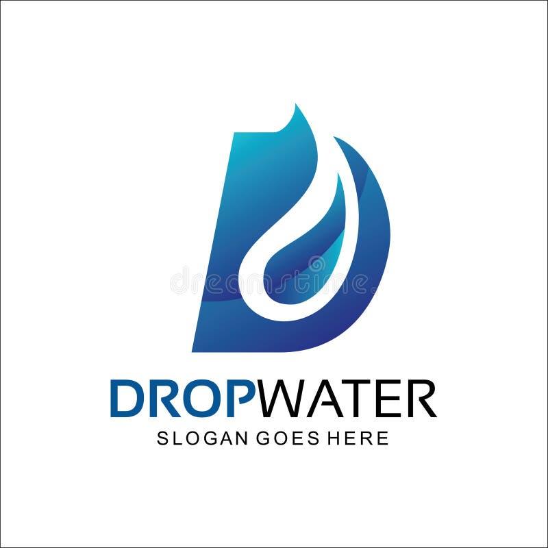 Dalingswater, het abstracte embleem van D stock illustratie