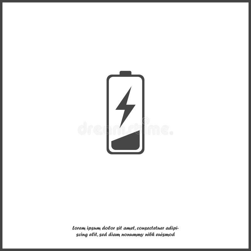 Dall'icona di vettore della carica della batteria Batteria bassa su fondo isolato bianco illustrazione vettoriale