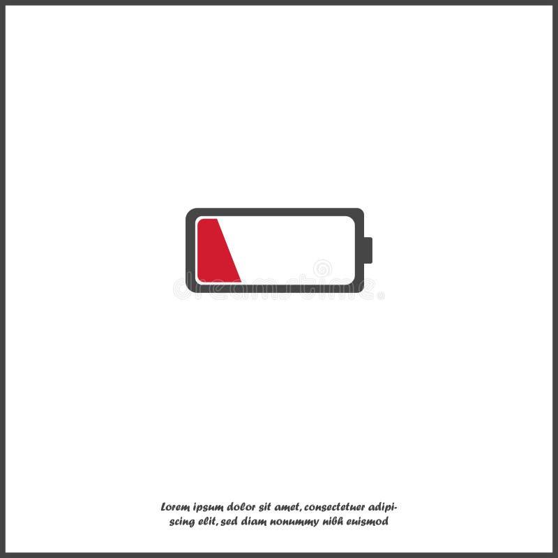 Dall'icona di vettore della carica della batteria Batteria rossa bassa su fondo isolato bianco illustrazione di stock