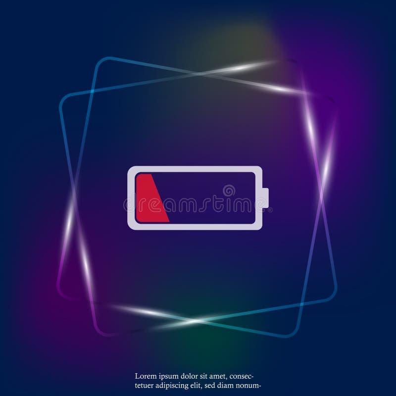 Dall'icona leggera al neon di vettore della carica della batteria Batteria rossa bassa L illustrazione di stock