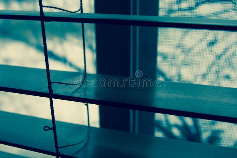 Dall'interno che guarda dalla finestra attraverso i ciechi di legno fotografia stock libera da diritti