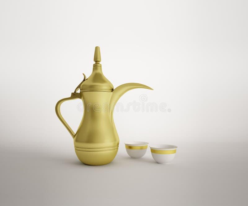 Dallah árabe com os copos de café no fundo branco ilustração royalty free