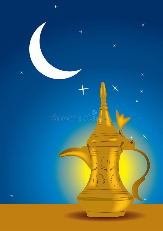 Dallah - o café árabe tradicional ilustração stock