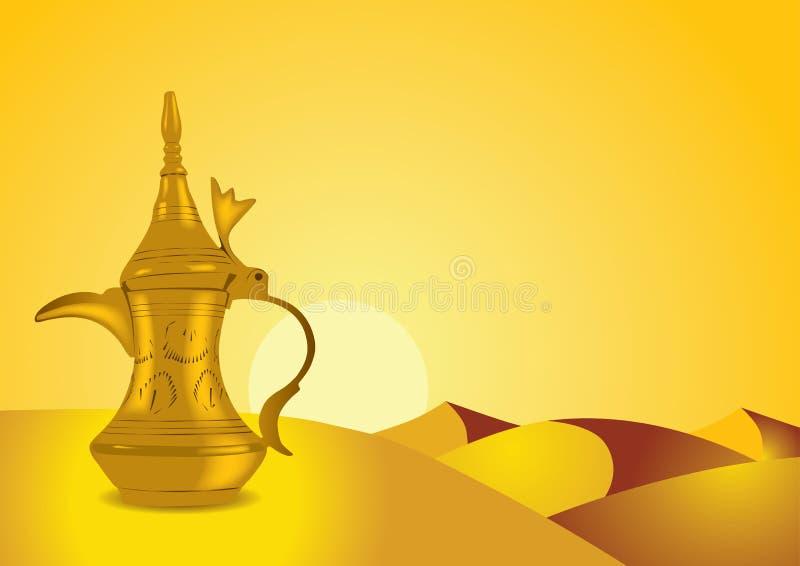 Dallah - o potenciômetro árabe tradicional do café ilustração stock
