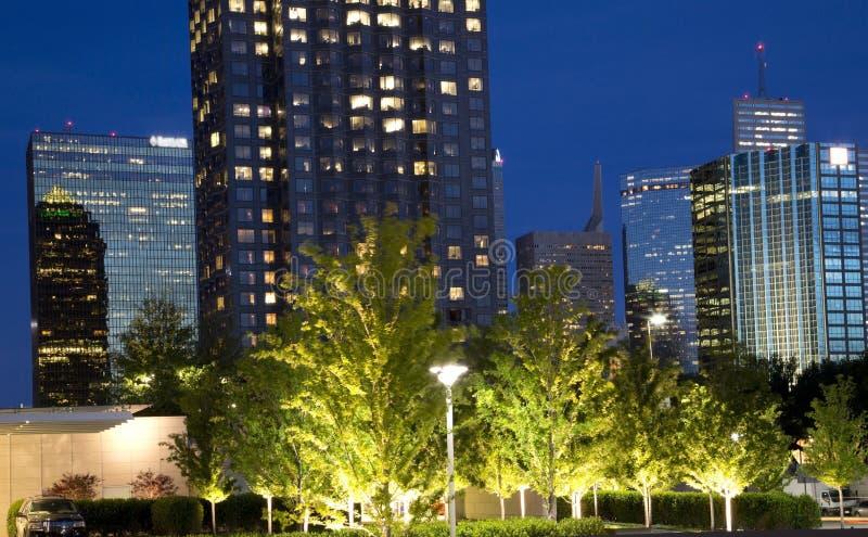 Dallas bij nacht stock fotografie