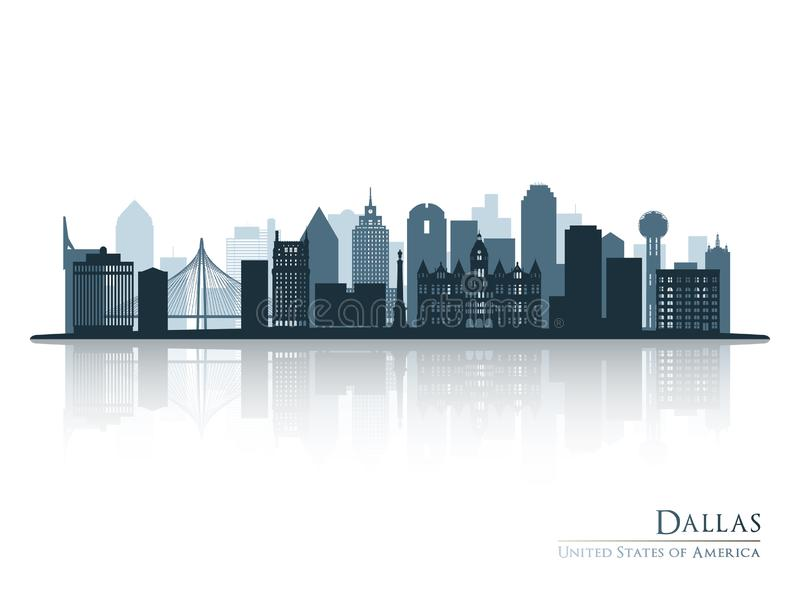 Dallas blue skyline silhouette with reflection. royalty free illustration
