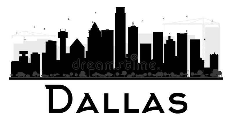 Dallas City-horizon zwart-wit silhouet stock illustratie